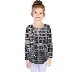 Skyscraper Glass Facade Offices Kids  Long Sleeve Tee