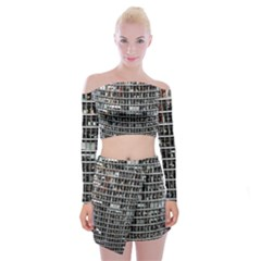 Skyscraper Glass Facade Offices Off Shoulder Top With Mini Skirt Set