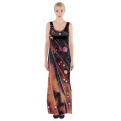 Abstract Wallpaper Images Maxi Thigh Split Dress