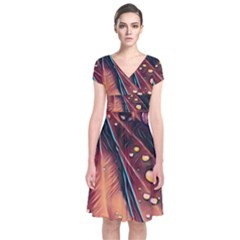 Abstract Wallpaper Images Short Sleeve Front Wrap Dress