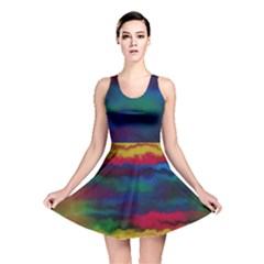 Watercolour Color Background Reversible Skater Dress