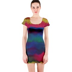 Watercolour Color Background Short Sleeve Bodycon Dress
