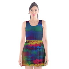 Watercolour Color Background Scoop Neck Skater Dress