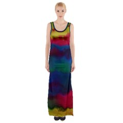 Watercolour Color Background Maxi Thigh Split Dress