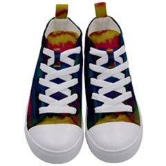 Watercolour Color Background Kid s Mid Top Canvas Sneakers