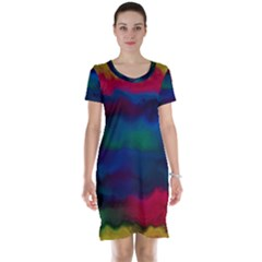Watercolour Color Background Short Sleeve Nightdress