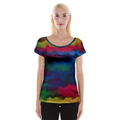 Watercolour Color Background Cap Sleeve Tops
