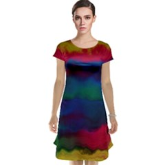 Watercolour Color Background Cap Sleeve Nightdress