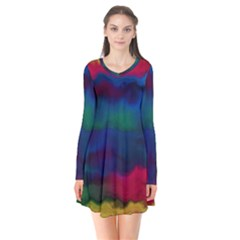 Watercolour Color Background Flare Dress