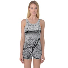 Abstract Background Texture Grey One Piece Boyleg Swimsuit