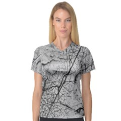 Abstract Background Texture Grey V Neck Sport Mesh Tee