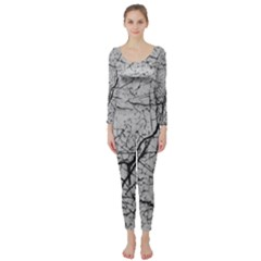 Abstract Background Texture Grey Long Sleeve Catsuit
