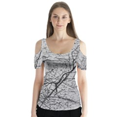 Abstract Background Texture Grey Butterfly Sleeve Cutout Tee