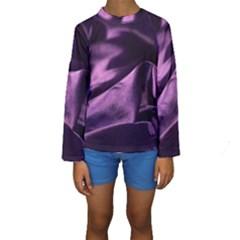 Shiny Purple Silk Royalty Kids  Long Sleeve Swimwear