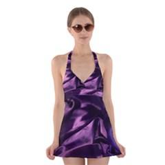 Shiny Purple Silk Royalty Halter Dress Swimsuit