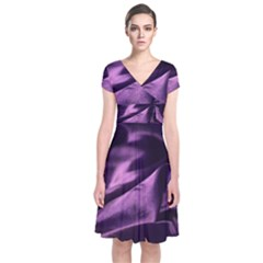 Shiny Purple Silk Royalty Short Sleeve Front Wrap Dress