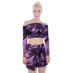 Shiny Purple Silk Royalty Off Shoulder Top With Mini Skirt Set