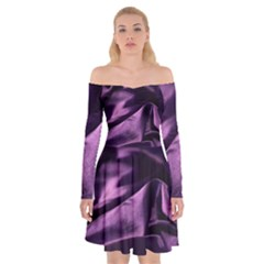 Shiny Purple Silk Royalty Off Shoulder Skater Dress