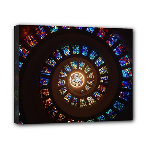 Stained Glass Spiral Circle Pattern Canvas 10  X 8
