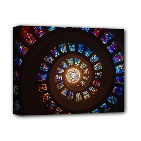Stained Glass Spiral Circle Pattern Deluxe Canvas 14  X 11
