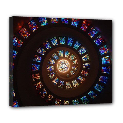 Stained Glass Spiral Circle Pattern Deluxe Canvas 24  X 20