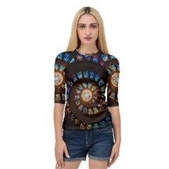 Stained Glass Spiral Circle Pattern Quarter Sleeve Raglan Tee
