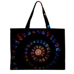 Stained Glass Spiral Circle Pattern Zipper Mini Tote Bag