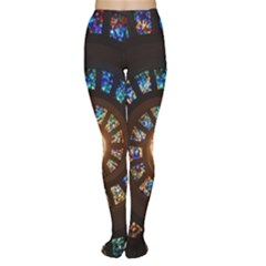 Stained Glass Spiral Circle Pattern Women s Tights