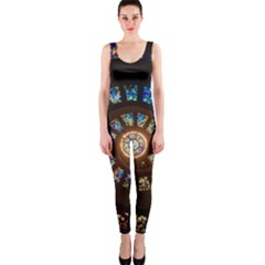 Stained Glass Spiral Circle Pattern Onepiece Catsuit