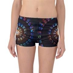 Stained Glass Spiral Circle Pattern Reversible Boyleg Bikini Bottoms