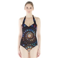 Stained Glass Spiral Circle Pattern Halter Swimsuit