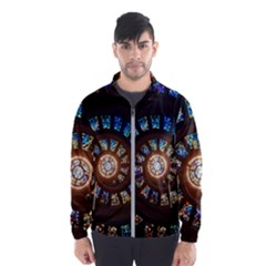 Stained Glass Spiral Circle Pattern Wind Breaker (men)