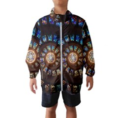 Stained Glass Spiral Circle Pattern Wind Breaker (kids)