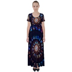Stained Glass Spiral Circle Pattern High Waist Short Sleeve Maxi Dress