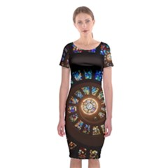 Stained Glass Spiral Circle Pattern Classic Short Sleeve Midi Dress