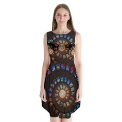 Stained Glass Spiral Circle Pattern Sleeveless Chiffon Dress