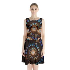 Stained Glass Spiral Circle Pattern Sleeveless Waist Tie Chiffon Dress