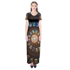 Stained Glass Spiral Circle Pattern Short Sleeve Maxi Dress