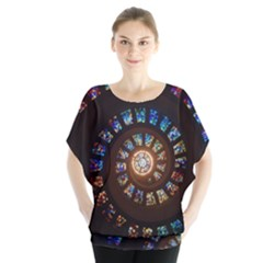 Stained Glass Spiral Circle Pattern Blouse