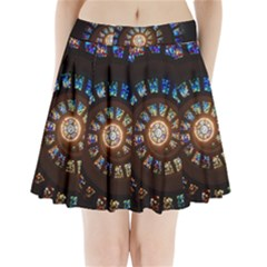 Stained Glass Spiral Circle Pattern Pleated Mini Skirt