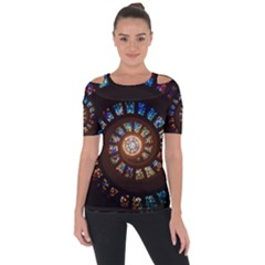 Stained Glass Spiral Circle Pattern Short Sleeve Top