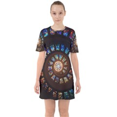 Stained Glass Spiral Circle Pattern Sixties Short Sleeve Mini Dress