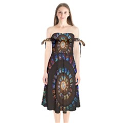 Stained Glass Spiral Circle Pattern Shoulder Tie Bardot Midi Dress