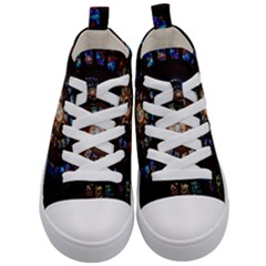 Stained Glass Spiral Circle Pattern Kid s Mid Top Canvas Sneakers