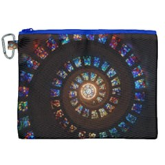 Stained Glass Spiral Circle Pattern Canvas Cosmetic Bag (xxl)