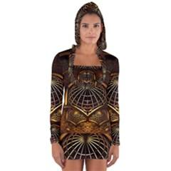 Fractal 3d Render Design Backdrop Long Sleeve Hooded T Shirt