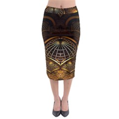 Fractal 3d Render Design Backdrop Midi Pencil Skirt