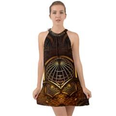 Fractal 3d Render Design Backdrop Halter Tie Back Chiffon Dress