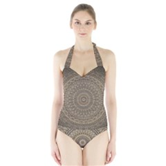 Background Mandala Halter Swimsuit