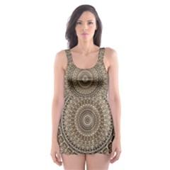 Background Mandala Skater Dress Swimsuit